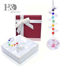 Handmade Crystal Chakra Rainbow Suncatcher Hanging Pendant Window Decor with Box