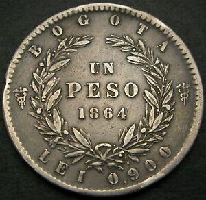 COLOMBIA 1 Peso 1864 - Silver - VF+ - 1609 *