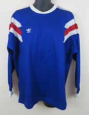 Mens Adidas Trefoil Vintage Football Shirt France 1989 Style 80s Jersey Large L