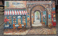 Original Painting French Cafe Outdoor VELODROME R Protin LE DAFE FRANCE Bennett