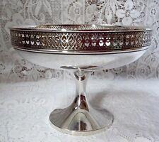 More details for 1919 walker & hall 407g solid sheffield silver tazza, pedestal bowl, pierced