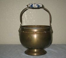 Vintage Brass Lion Head Scuttle Coal Ash Bucket Delft Blue Handle