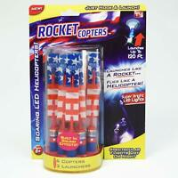 Rocket Copters Slingshot LED Light Helicopters 6 pack AS SEEN ON TV, 3 Launchers