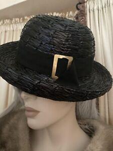 Vintage Black Bucket Yves St Laurent Hat W/ Buckle Straw Xl