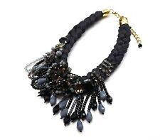 CC700 * Collier Plastron Cordons Tressés Fleurs Tombée Perles Mode - Noir/Gris