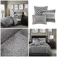 Queen Contemporary Gray Shimmer Comforter Set 7 Piece Silver Accents Bedding
