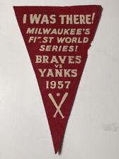 1957 1st World Series Milwaukee Braves vs New York Yankees Pennant Souvenir