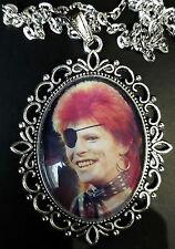 David Bowie Ziggy Large Antique Silver Pendant Necklace Music Eye Patch 1974