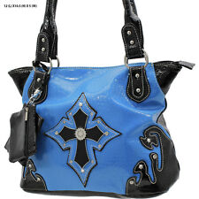 1188 BLUE CROSS RHINESTONE WESTERN PURSE CONCEALED CARRY WEAPON COWGIRL BAG
