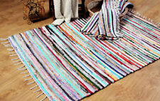 FAIR TRADE STRIPED RECYCLED CHINDI RAG RUGS LOOMED WOVEN COTTON MATS 60X200CM