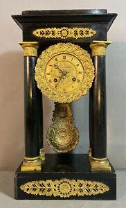 19thC Antique VICTORIAN Era FRENCH PORTICO Type MANTEL Brass ORMOLU Column CLOCK