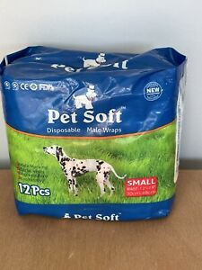 12 Pack Dog Wraps Doggie Diapers Pet Soft Disposable Male Wrap Dog Diaper Small