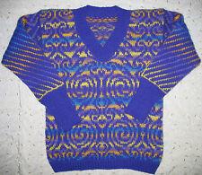 Women's M Sweater Handmade Hand knitted 100% bulky wool Celtic purple Fair Isle
