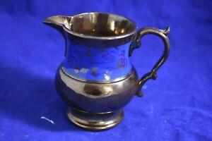 Antique 1830's English Copper Luster, Cobalt Blue Band Stylized Floral Design -5