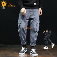 Men`s 100% Cotton Outdoor Patchwork Casual Cargo Loose Baggy Work Pants 28-42