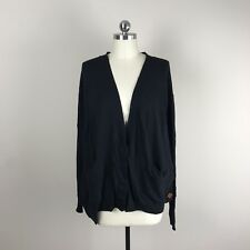 Peace Love World Lagenlook Button Front Cardigan Sweater Womens Black Sz M/L