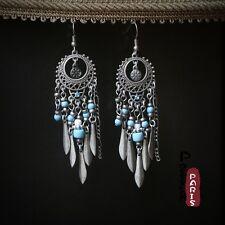 Costume Mode Boucles d'oreilles chandelier Perles Turquoise Argenté Mini Tassel E2