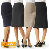 LADIES KNEE-LINED CORPORATE DRESS SKIRT - NAVY/BLACK/CHARCOAL/TAUPE - SIZES 6-26
