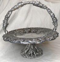 Aluminum Holloware Basket by Arthur Court With Pedestal And Handle, Grape Vines