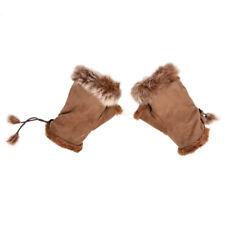 Women Pair Faux Fur Trim Wrist Warmer Fingerless Gloves T3a0 X4r3