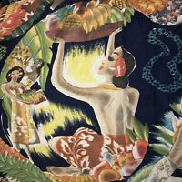 VINTAGE 1950'S MCINTOSH HULA GIRL NATIVES RAYON HAWAIIAN SHIRT -ORIGINAL- M