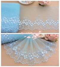 "7""*1Y Embroidered Floral Tulle Lace Trim~Light Blue~Young Time~Wedding/Doll/DIY~"