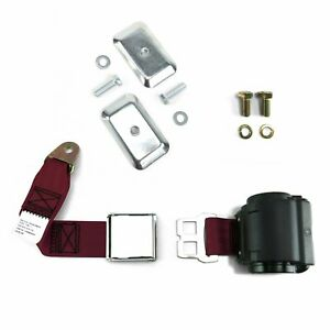 2pt Burgundy Airplane Buckle Retractable Lap Seat Belt w/Plate Hardware