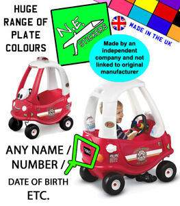 PERSONALISED Number Plate(s) to fit FIRE Little Tikes Cozy Coupe kids toy car