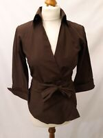 Zara Belted Shirt - Size S - Brown - 3/4 Sleeve - Cotton Blend