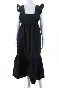 Self Portrait Womens Cotton Poplin Midi Dress Black Size 2