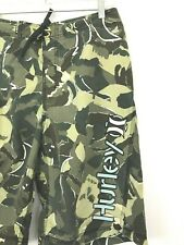 Hurley Camo cargo Shorts Green Camouflage 32 Distressed Drawstring Lightweight