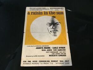 A Raisin In The Sun 1961 Theater Play Flyer Juanita Moore Actress Estate
