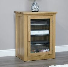 Arden solid oak living room furniture hi-fi stereo glazed cabinet cupboard