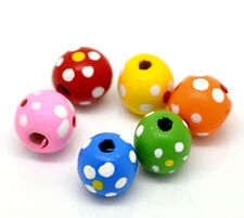 50 Pcs - 13mm Mix Round Wooden Flower Dot Beads Jewellery Craft Kids Q53