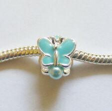 1 Silver Plated Butterfly Charm Bead- Fits Charm Bracelet- Turquoise