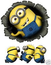 Despicable Me Minion Hole in the Wall Removable Wall Sticker  Free extra Sticker