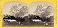 Suisse Vista Da Wetterhorn A Grindelwald Stereo Albumina Vintage Verso 1870