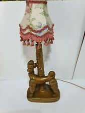 Vintage 70's Pottery Gold Poodle Table Lamp Dog Floral Tassled Shade Chintz
