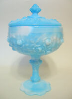 Fenton Blue White Slag Compote Cabbage Roses Lidded Unsigned 8 to 9 Inch AS IS