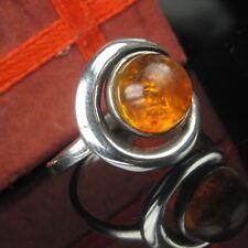 Ostsee Bernstein Silber 925 Ring 17.8mm / 56 Damen Amber Handarbeit Sterling
