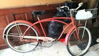 "Vintage Retro 26"" Heavy Weight RED Western Flyer Rat Rod Bicycle W/Basket"