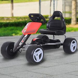 HOMCOM Kinder Go-Kart Tretauto Kinderfahrzeug mit Pedalen 4 Räder 3 Jahre