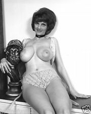 1960s Topless Pinup Full Natural Breasts with Greek Bronze Bust 8 x 8 Photograph