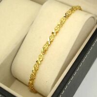 "18k Yellow Gold Filled Charm Bracelet 8.6""Chain 4mm Link Anklet GF Women Jewelry"