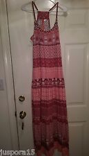 H&M Divided NWT Womans Light/Dark Pink/White Floral/Paisley Long Sundress Size 6