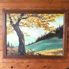 Landscape Painting Autumn Tree River Scene Oil Paint 1974 Signed Framed Art