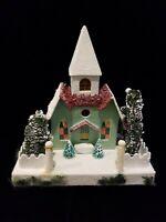 Vtg Christopher Radko Shiny Brite Christmas Church Putz Mica