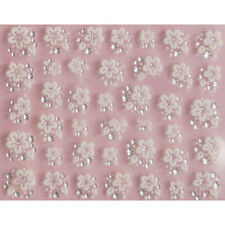 POP 3D Nail Art Lace Stickers Decals Transfers WHITE SILVER Flowers Rhineston