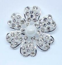 Brooch Flower Imitation Pearl Silver Plated Brooch Bouquet Wedding
