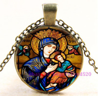 Necklace Virgin Mary Photo Tibet Silver Cabochon Glass Pendant Chain Necklace